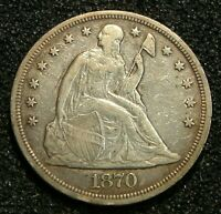 1870 SEATED LIBERTY SILVER DOLLAR EXTRA FINE