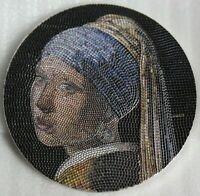 GIRL PEARL EARRING GREAT MICROMOSAIC PASSION 3 OZ SILVER COI