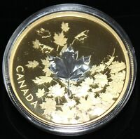 3 OZ. REVERSE GOLD PLATED PURE SILVER COIN   WHISPERING MAPL