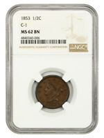 1853 1/2C NGC MINT STATE 62 BN C-1 BRAIDED HAIR HALF CENTS 1840-1857