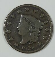 BARGAIN 1828 CORONET HEAD WITH SMALL WIDE DATE LARGE CENT  GOOD 1C