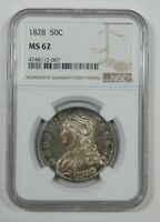 1828 CAPPED BUST/LETTERED EDGE HALF DOLLAR CERTIFIED NGC MINT STATE 62