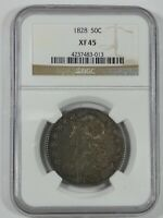 1828 CAPPED BUST/LETTERED EDGE HALF DOLLAR CERTIFIED NGC EXTRA FINE  45 SILVER 50C