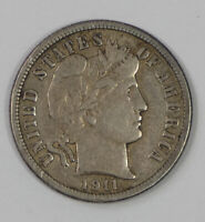 1911-D BARBER DIME EXTRA FINE SILVER 10-CENTS