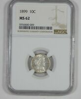 1899 BARBER DIME CERTIFIED NGC MINT STATE 62  SILVER 10C