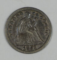 1851 LIBERTY SEATED HALF DIME WITH STARS  FINE SILVER 5C