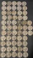 JEFFERSON NICKEL LOT OF 58 COINS 1938-1964