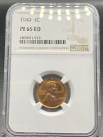 1940 LINCOLN WHEAT CENT NGC PR65RD