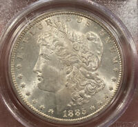 1885-CC MORGAN SILVER DOLLAR PCGS MINT STATE 63 CAC OLD GREEN HOLDER