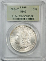 1882 CC $1 MORGAN DOLLAR PCGS MINT STATE 65 UNCIRCULATED CARSON CITY OGH OLD HOLDER
