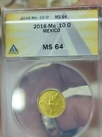 2016 1/10 OC .999 GOLD MEXICO MS 64  GOLD
