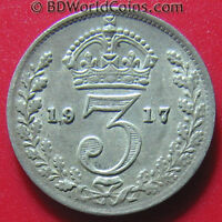 1917 GREAT BRITAIN 3 PENCE SILVER GEORGE V BRITISH COLLECTABLE WORLD COIN 16MM
