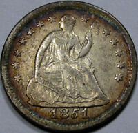 1851-O SEATED LIBERTY HALF DIME EF WITH  ALBUM TONING PRETTY COIN