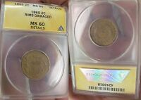 1865 TWO CENT PIECE ANACS CERTIFIED MINT STATE 60