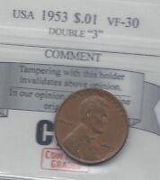 1953 USA, LINCOLN WHEAT, SMALL ONE CENT, DOUBLE 3