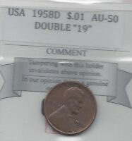 1958D USA, LINCOLN WHEAT, SMALL ONE CENT, DOUBLE 19