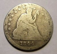 1844 SEATED QUARTER TOUGH DATE  R1