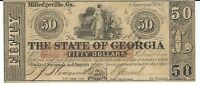 STATE OF GEORGIA MILLEDGEVILLE $50 1865 SIGNED ISSUED RED OVERPRINT 1689 NOTE