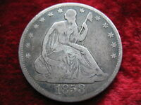 1858 P SEATED LIBERTY SILVER HALF DOLLAR BETTER GRADE QUALITY COIN WITH DETAIL!