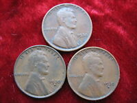 LOT OF 3 LINCOLN CENTS, 1930S, 1930D, 1930P  GRADE FAST U.S. SHIPPING
