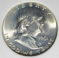 1961 FBL FRANKLIN HALF DOLLAR OLD SILVER MS FULL BELL LINES UNCIRCULATED COIN275