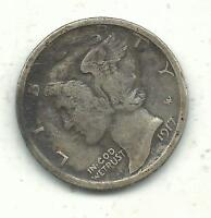 A NICE VINTAGE BETTER GRADE 1917 P MERCURY SILVER DIME OLD US COIN JUL038