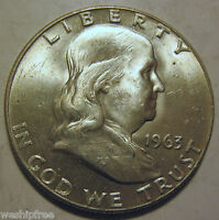 CHOICE UNC 1963 D SILVER FRANKLIN HALF! 121V