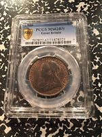 1900 GREAT BRITAIN PENNY PCGS MS62 BN BROWN LOTG931 BEAUTIFUL COIN!