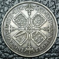 1932 GREAT BRITIAN   ONE FLORIN   SILVER   GEORGE V   GORGEOUS COIN   KEY DATE