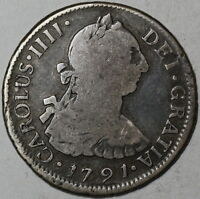 1791 SO BUST OF CHARLES III NOT CHARLES IV 2 REALES  TYPE CHILE MINT COIN