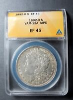 1892 O MORGAN DOLLAR VAM 12A MPD 9 BELOW HAIR OVERLAPPING REEDING, CLASHED OBVER