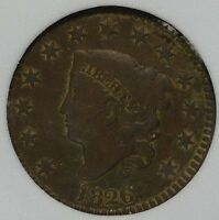 1826 LARGE CENT 1C FINE VF CORONET HEAD  OLD COPPER COIN SHIPS FREE 977