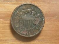 1864 2 CENT PIECE, HEAVY CORROSION,  EXTRA FINE  DETAILS, 4204