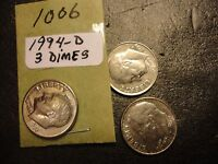 1994 D 3 COIN LOT   ROOSEVELT DIMES       COMBINED POSTAGE