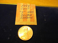 1993  THE 3  HAS A DOUBLE SHADOW   LINCOLN  CENT       COMBINED SHIPPING