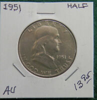 1951 FRANKLIN SILVER HALF DOLLAR ABOUT UNCIRCULATED
