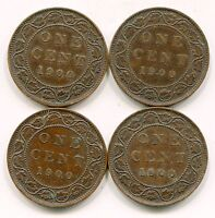 CANADA LARGE CENTS 1900 H LOT OF 4 COINS   LOTSEP1679