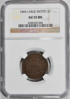 1864-P TWO 2 CENT PIECE NGC AU-55 BN LARGE MOTTO ABOUT UNCIRCULATED 2C COIN