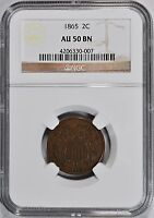 1865-P TWO 2 CENT PIECE NGC AU-50 BN  ABOUT UNCIRCULATED 2C COIN