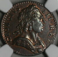 1774 NGC AU 53 FARTHING GEORGE III POP 1/5 GREAT BRITAIN COLONIAL COIN  15060301