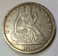 1843 SEATED HALF DOLLAR SHARP BETTER DATE NICE