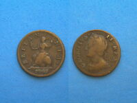 GREAT BRITAIN 1749 COPPER FARTHING KING GEORGE II 23.5 MM 4.8 GRAMS