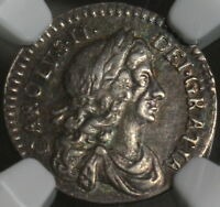 1676 NGC XF 45 CHARLES II SILVER 2 PENCE GREAT BRITAIN COIN  POP 1/2 15102403C
