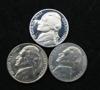 1980 PDS  JEFFERSON NICKEL SET OF 3 BRILLANT UNCIRCULATED  TOP 10