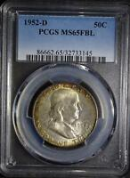 1952 D PCGS MS65 FBL FRANKLIN HALF DOLLAR 90 SILVER FULL BELL LINES SHIPS FREE