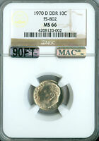 1970 D DDR ROOSEVELT DIME NGC MAC MS66 PQ 2ND FINEST REGISTRY SPOTLESS