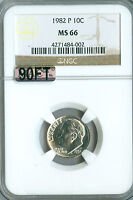1982 P ROOSEVELT DIME NGC MAC MS66 90FT 2ND FINEST REGISTRY SPOTLESS