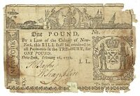 COLONIAL CURRENCY NEW YORK 1 POUND FEB 16,1771 FR NY163 REPAIRED