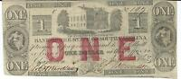 1862 BANK NOTE STATE SOUTH CAROLINA CHARLESTON RED $1 OLDHOUSE LOW 197
