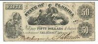 STATE FLORIDA TALLLAHASSEE $50 1862 SLAVES COTTON 3 FEMALES NOTE 15215